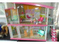 ELC wooden dolls house,with furniture and dolls
