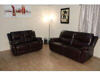 Ex-display Sienna ox blood leather manual recliner 3 seater sofa and electric recliner 2 seater sofa