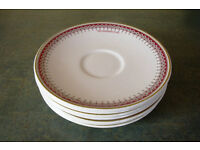 7 Ridgway Potteries Ltd white saucers 'A V Goodhew Ltd' with decorated border at rim.£3.50 ovno lot.