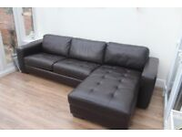 Brown leather corner sofa bed in excellent condition
