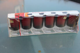 6 x 1970s red vintage Luminarc glasses in original packaging
