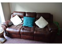 Three seater reclining sofa,well looked after.