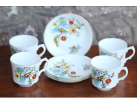 4 Vintage Retro Cups and Saucers Birds of Paradise Arklow Pottery Ireland Colourful Kitchen Trio
