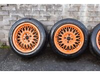 "4x 15"" Genuine BSB Alloy wheels with Nangkang NS2R tyres 4x100 stud pattern"