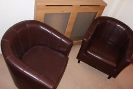 2 Brown Faux Leather Bucket Chairs