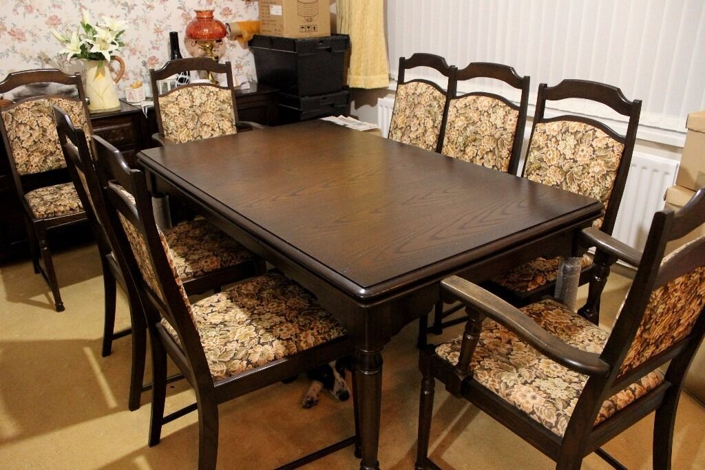 a78152f48addc Old Charm Solid Dark Oak Extendable Dining Table 8 Chairs In