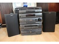 SONY LBT-D117 1980s HI FI stereo system with PS-LX49P record turntable, CD, tape, radio and speakers