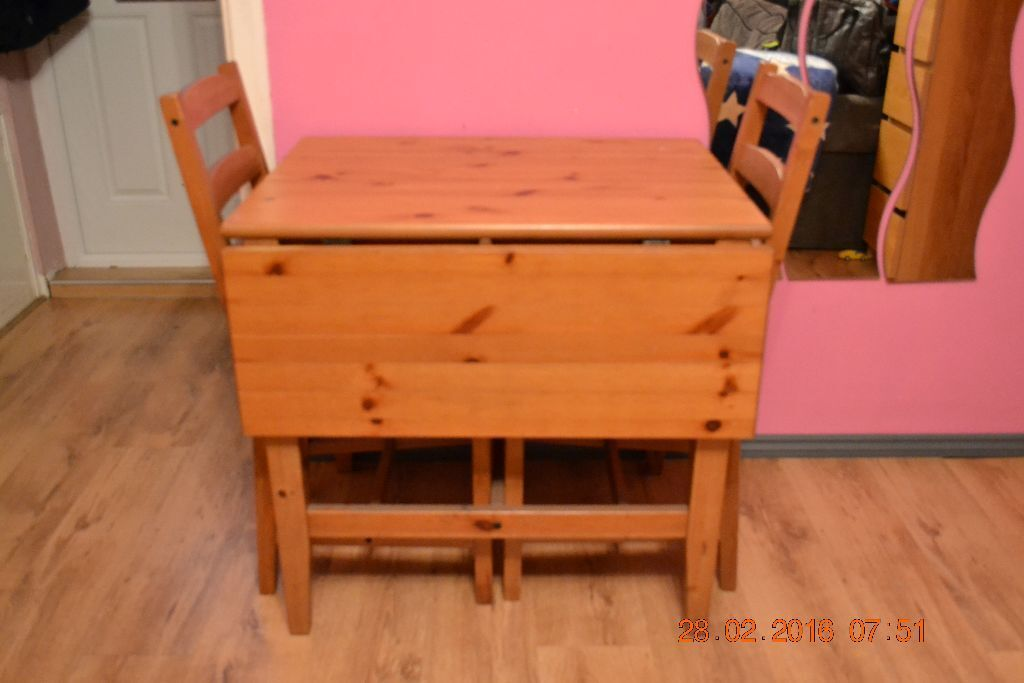 Small Ikea Very Solid Pine Drop Leaf Dining Table And 2