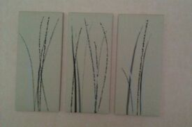3 set canvas prints. Modern contemporary. In excellent condition