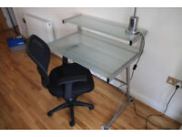 Glass desk + free chair