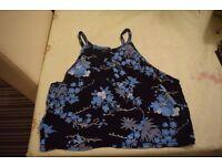 Black Floral Crop Top - Size 14