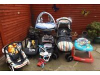 pram with carrycot+car seat bouncer walker playmat door swing baby monitors microwave sterilizer