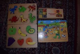 Set of Wooden Puzzle and blocks