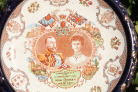 """Large 10.5"""" Antique Display Plate made for 1911 Coronation of King George V & Queen Mary"""