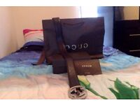 MENS DESIGNER GUCCI BELT BROWN WITH THE SILVER BUCKLE