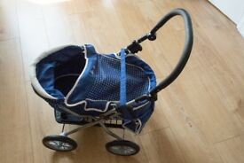 Blue and White Silver Cross Dolls Pram