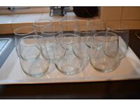 10 stemless wine glasses