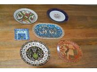 THE SET OF OLD, DECORATIVE, HAND PAINTED PLATES