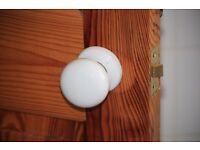White Porcelain Door Knobs and Door finger plates