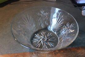 """Moulded glass fruit bowl 9.5"""" diameter at top Stylised leaf / flower design"""