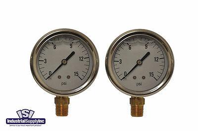 2-pk 0-15 Psi 2.5 Hydraulic-air-water Pressure Gauge Liquid Filled