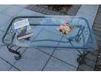 Metal and safety glass coffee table with 2 matching occasional tables £75