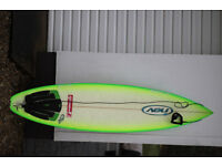 "Nev Australian surf board, 3 fin 6'8"" with board bag"