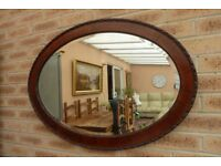 Extra Large Antique Vintage Victorian Oval Bevelled Mirror