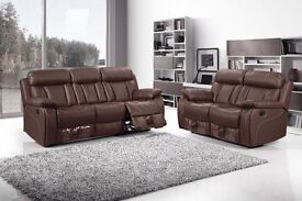 BRAND NEW Leather Recliner Sofa Set Vancouver Brown