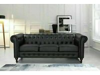 🔴LOWEST PRICE IN UK🔵CHESTERFIELD PU LEATHER SOFA 3 SEATER-CASH ON DELIVERY