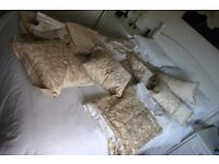 Matching set of beige/cream coloured quilt cover, curtains and pillows