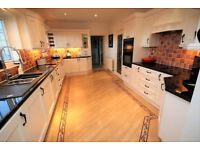 Solid wood kitchen with NEF double oven, hob, integrated fridge and display cabinets