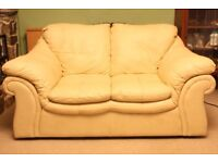 Ultra Plush Italian Calf-Skin Leather Two-Seater Sofa with Gliders: As New - Cost £800.00.
