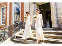 Two Sorella Vita One Shoulder Bridesmaid Dresses in Champagne - RRP £398