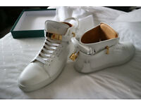 Buscemi 100mm White Gold Clasp Sneakers (UK SIZE 10)