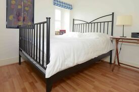 DOUBLE BED - black metal bed frame with mattress and divan base