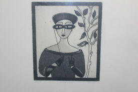 Large Framed Ltd Edition Art Print (20/50) by Irish Artist Gay O'Neill Titled Lorgnette Picture