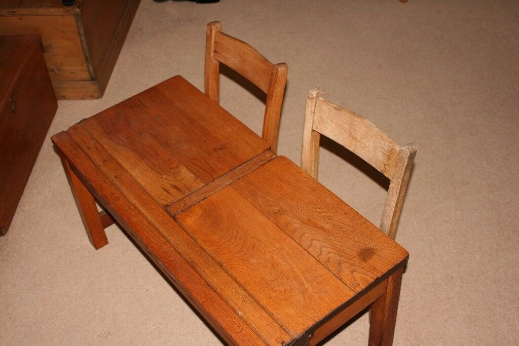 Child's vintage wooden double school desk and chairs