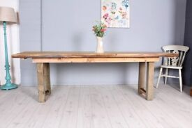 DELIVERY OPTIONS - 8 FT RECLAIMED PINE HOMEMADE PINE TABLE - 5 STAINED PLANKS