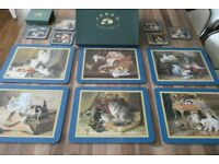 table mats and coasters set of 6 each Nostalgic Cats