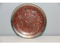 Decorative Plate Red Enamel On Metal