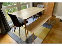 Excellent saving - Furniture Village Walker dining table, bench, 2 Earth chairs