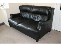 3 seater sofa and armchair - Black leather