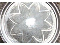 """Antique Mid-Victorian (Pre 1879) Silver Plate 14"""" Serving Tray James Dixon & Son Wall Hanging Art"""