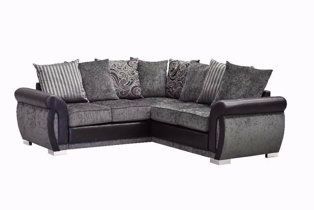***BRAND NEW*** The Luxury Helix Chenille Fabric And Leather Corner Sofas ** FREE DELIVERY**