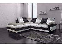 SUPER COMFY AND LUXURIOUS DINO JUMBO CORD OR DIAMOND CRUSHED VELVET CORNER SOFA OR 3+ 2 SEATER