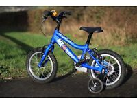 "Ridgeback MX14 (14"" wheels) Boys Bike - Blue with Stabilisers - Very good condition"