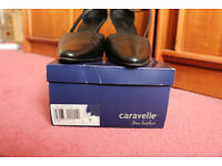 Caravelle Ladies Strap Court Shoe Black Leather Size 9