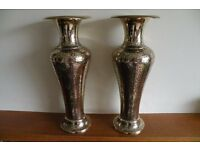 Pair of vintage large brass vases