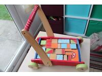 ELC Early Learning Centre wooden walker with bricks